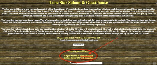 Lone Star Saloon Bar and Guest House: Website snapshot clearly stating breakfast included.  The owner denies... I just checked.......a