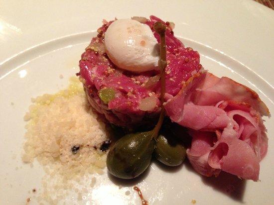 Cork Restaurant:                   Prime Beef Tartare/Quail Egg, Spicy Capicola, Dijon, Caper Berry, Pecorino, Tr