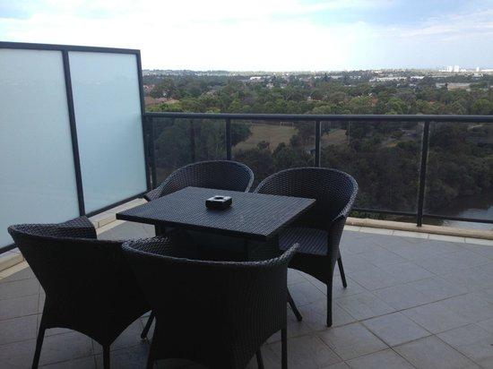 Meriton Suites George Street, Parramatta:                   Topmost balcony.