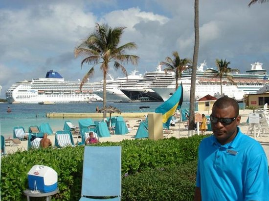 British Colonial Hilton Nassau:                   Five ships in port on a Saturday