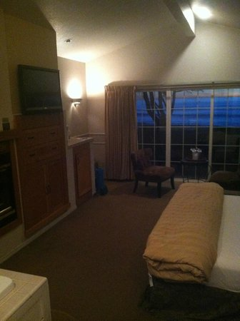 Cambria Landing Inn & Suites :                   room—standing in bathroom door