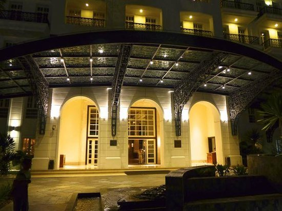 The Danna Langkawi: The lighted Hotel enterance at night.