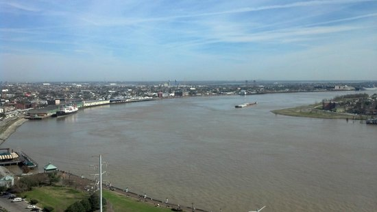 The Westin New Orleans Canal Place:                   View of the Mississippi River and Westbank from my guestroom on Floor 26