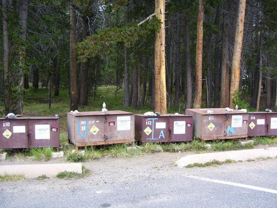 Tuolumne Meadows Lodge: Lodge bear boxes along parking lot