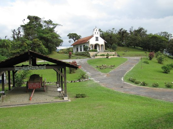 Villa Blanca Cloud Forest Hotel and Nature Reserve: Another view of the church and traditional ox cart