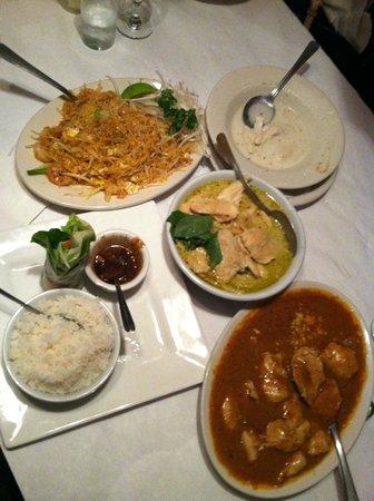 Lemongrass Thai Restaurant:                   pad thai; green chicken curry; peanut chicken; coc soup