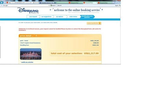 Disneyland Hotel: online booking screen that charge my credit card but no room given
