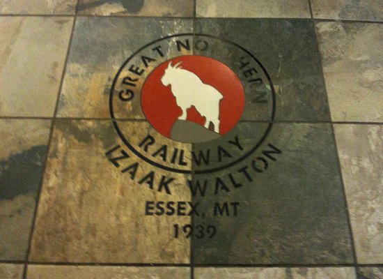 Izaak Walton Inn: the tile floor of the bar. Great Northern built the Inn in 1939.
