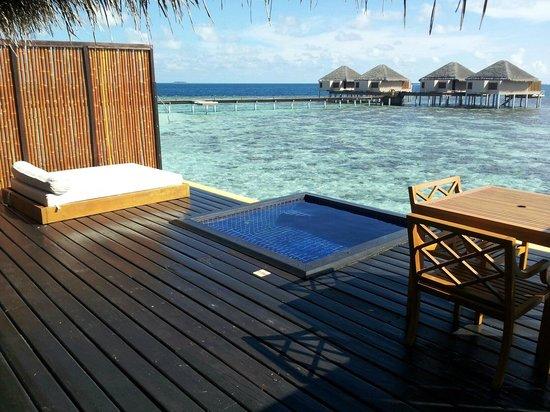 Adaaran Prestige Vadoo:                   Deck with day bed and pool