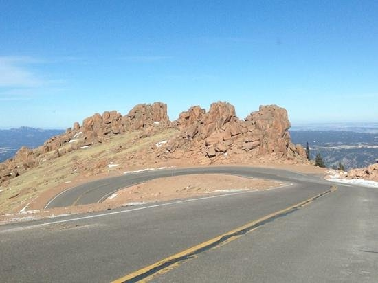 Pikes Peak Highway:                   winding narrow roads