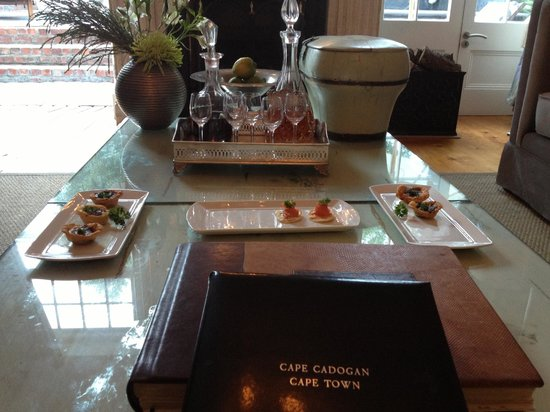 The Cape Cadogan:                   Canapes and apertifs at supper time