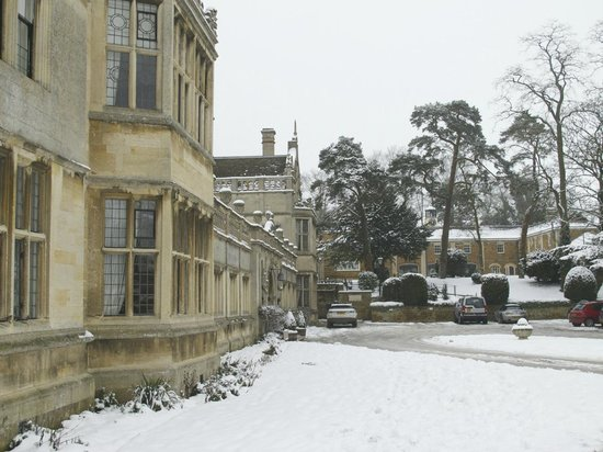 Rushton Hall Hotel and Spa: View of the front, Stableyard Spa (right)