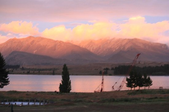 Lake Tekapo Village Motel:                   Sunset looking out from our balcony!