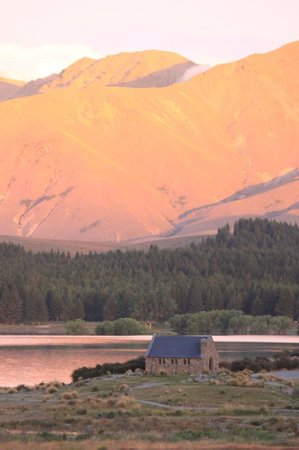 Lake Tekapo Village Motel:                   sunset looking out from our balcony
