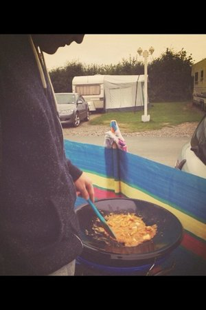 Tregoad Park: Cooking on our cadac in the campsire!
