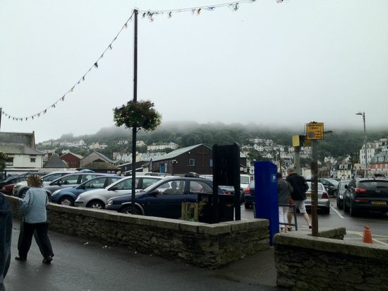 Tregoad Park: Looe harbour/town on our last day, foggy!!