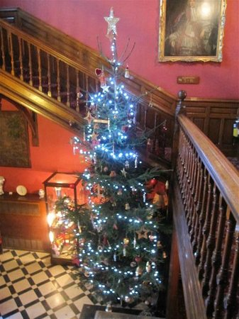 Tillmouth Park Country House Hotel: entrance hall at Christmas