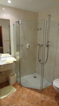 Landhotel Hallnberg:                   Duschbadspender statt der üblichen Hotelproben