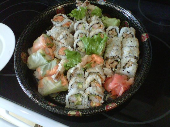 Sushi Kui:                                     Take-out - chicken teriyaki rolls, spicy salmon rolls, dynam