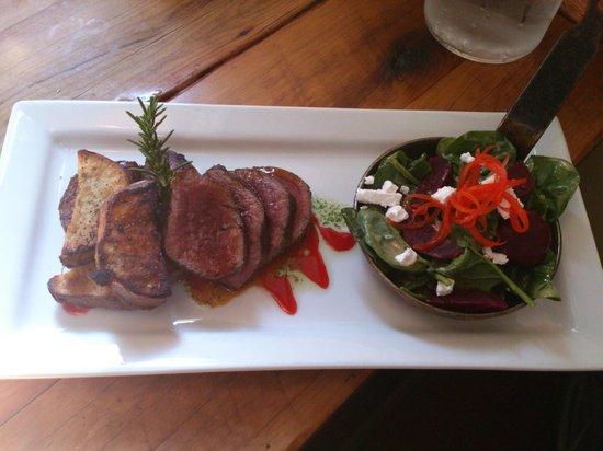 Redcliff Restaurant & Bar:                   Wild hare backstrap atop crispy parmesan cased mushroom, truffled barley risot