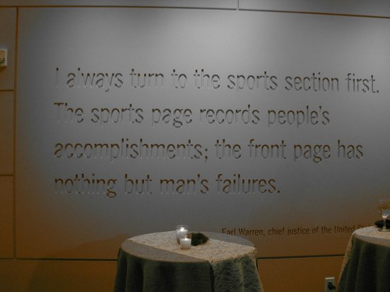 Newseum:                   News related quotes adorn the walls inside.