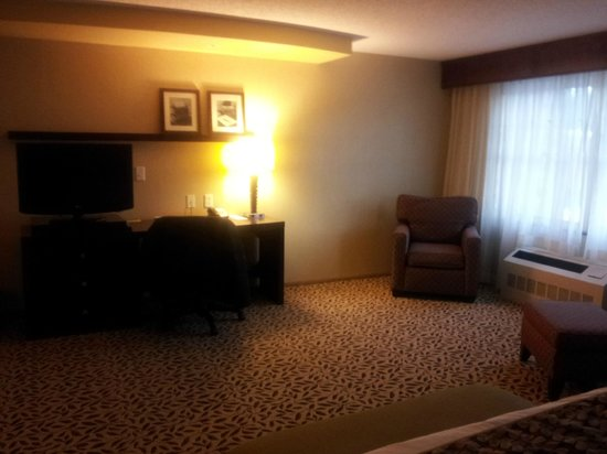 Courtyard by Marriott Lake Placid:                   TV desk area - lighting in room was not as dark as my pics came out