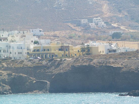 Hotel Grotta:                   View of Hotel from Naxos Hora