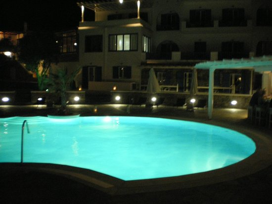 Argo Hotel Mykonos:                   Evening pool view.