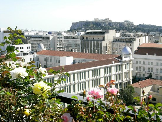 Titania Hotel:                   Acropolis and downtown Athens view from The Olive Garden Rooftop restaurant an