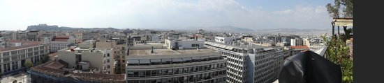 Titania Hotel :                   Panoramic view of Athens from The Olive Garden at the top floor of the Titania