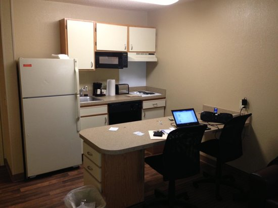 Extended Stay America - Boston - Peabody:                   Ktichen and Workspace