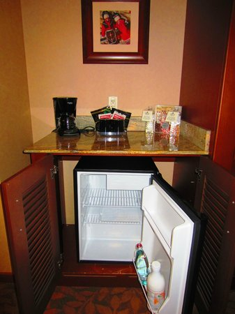 Seneca Allegany Resort & Casino:                   Mini fridge, coffee maker and other treats