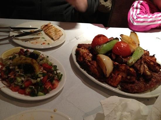 Ekin Restaurant:                   main course...mixed meats, pitta and salad
