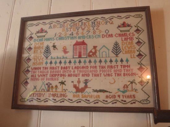 "JM Barrie's Birthplace:                   Wendy's Sampler--an image similar to the one used on the ""Sampler Curtain"" fro"