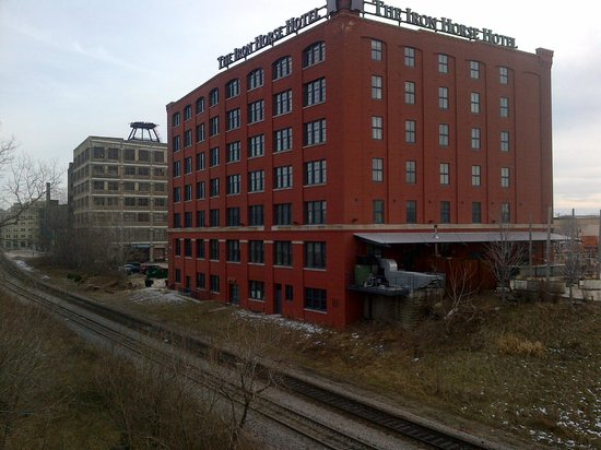 Iron Horse Hotel: View from backside / bridge (note the rail tracks)