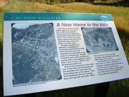 Pikes Peak - America's Mountain: Crowe Gulch sign