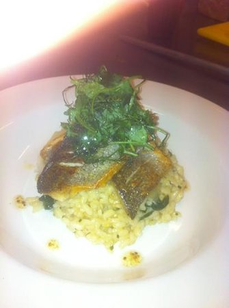 Station Hotel Bar & Restaurant: Pan fried sea bass,lemon and spinach risotto