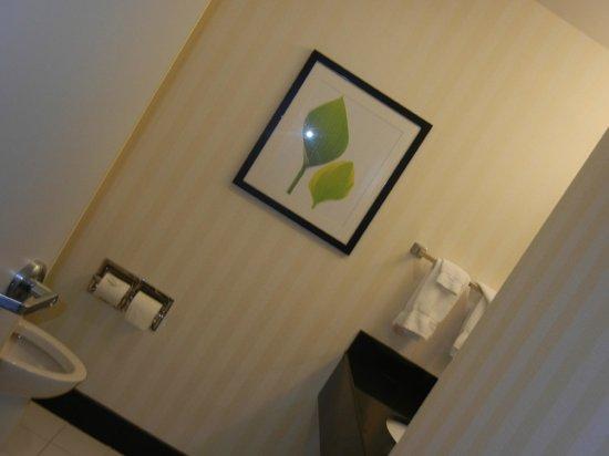 Fairfield Inn & Suites Harrisburg West: Clean bathroom, nice wallpaper