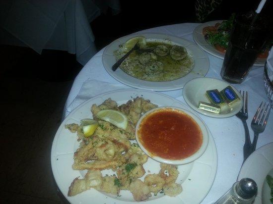 Sofia's Restaurant :                   Baked Clams Oreganato and Fried Calamari
