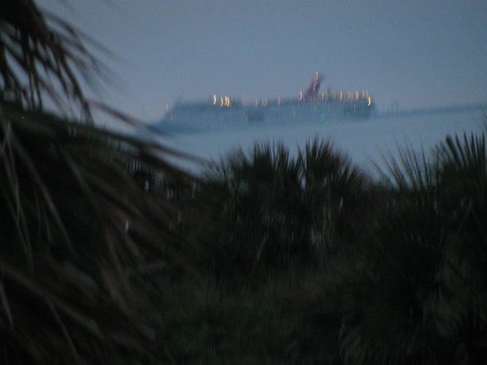 La Quinta Inn & Suites Cocoa Beach Oceanfront:                   view of cruise ship from balcony