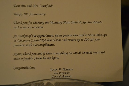 Monterey Plaza Hotel & Spa: Voucher left in our room - too late to use though ;-(