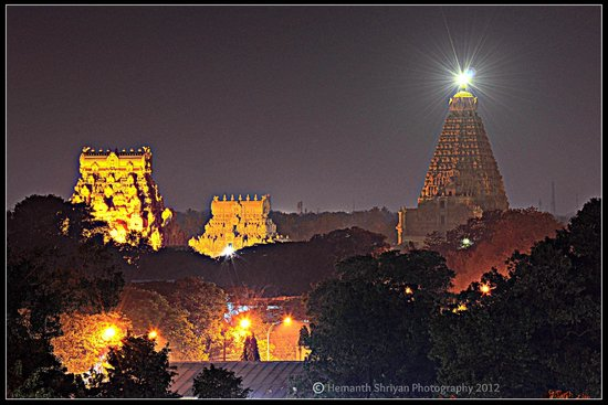 Brihadeeshwara Temple: night view of the temple from half a km distance..