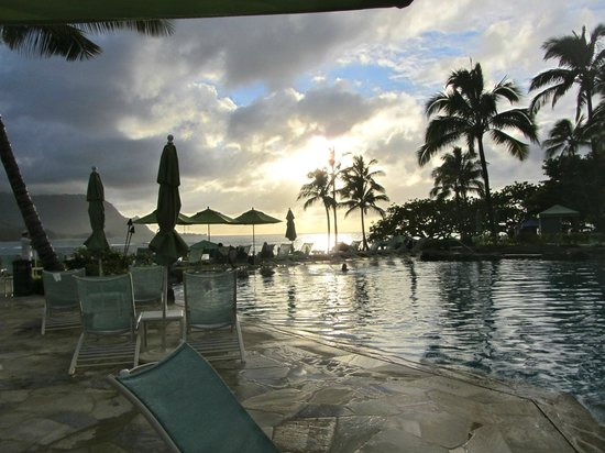 St. Regis Princeville Resort:                   Sunset at the pool