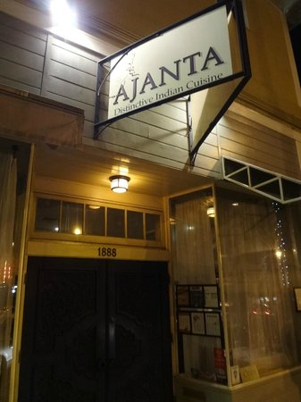 Ajanta Distinctive Indian Cuisine: Sign and front door on Solano Ave
