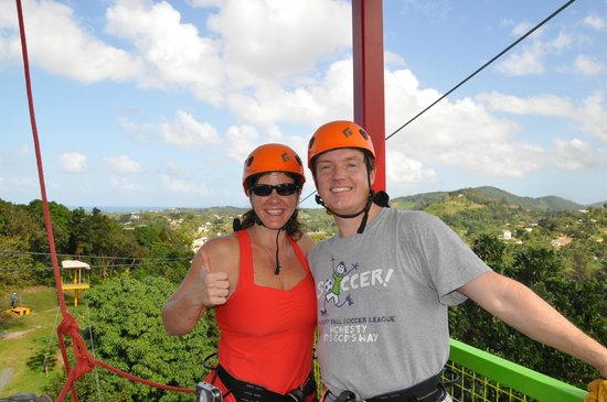 Rain Forest Zipline Corp.:                   At the top of the tower... great view of the rain forest and the ocean
