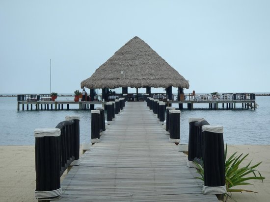 The Placencia Hotel and Residences:                   Pier Bar and Dining area