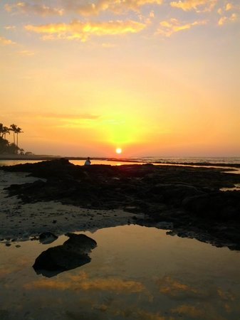 Four Seasons Resort Hualalai:                   Sunset from tide pool front of Ulu