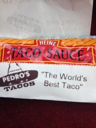 Pedro's Tacos: taco sauce.