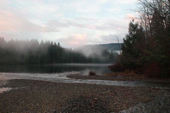 Bowen Island Hideaway: Killarny Lake in mist. We overlook Killarny Lake and Crippen Park Forest.