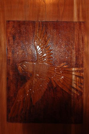 Cabinas Jimenez:                   Macaw carved into the door in the downstairs Rancho